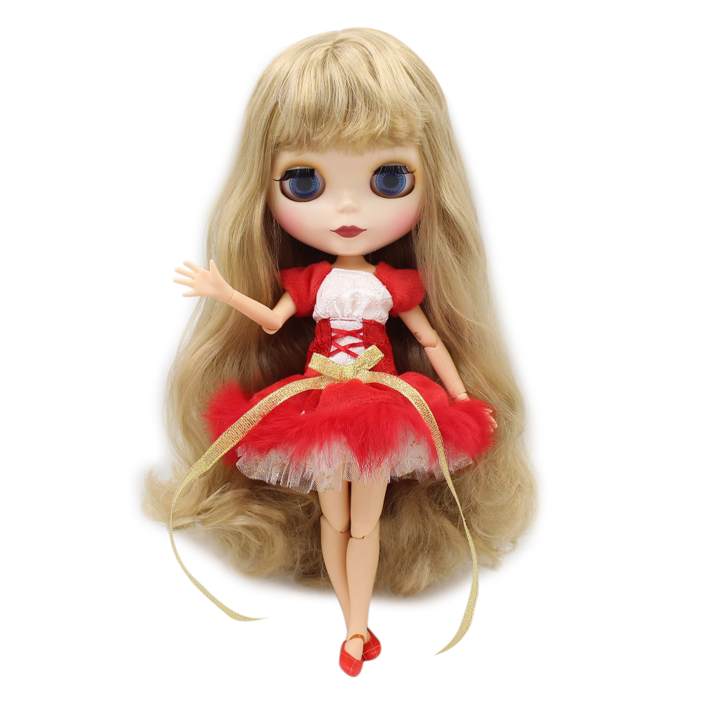 factory blyth doll with joint body matte face Christmas Dress shoes with Christmas hat/without Christmas hat combination christmas faux fur fitted velvet short party dress with hat