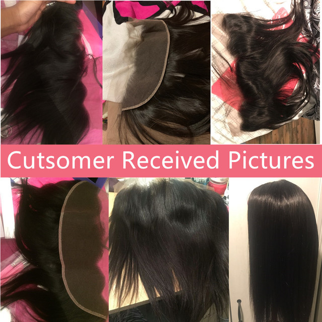 Bling Hair Peruvian Straight Human Hair Lace Frontal Closure 13×4 With Baby Hair Middle/Free/Three Part Swiss Lace Natural Color
