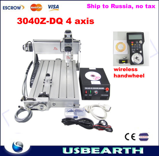 Freeshipping to Russia, no tax. CNC 3040Z-DQ 4 axis Engraving Machine, CNC router, milling machine + wireless handwheel no tax to russia factory new 4 axis cnc cutting machine with limit switch usb port 800w cnc router 3040 z usb