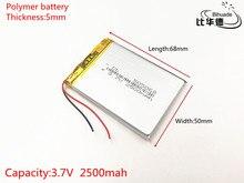3.7 V 2500 mAh 505068 Lithium Polymeer Li Po li ion Oplaadbare Batterij cellen Voor Mp3 MP4 MP5 speelgoed mobiele bluetooth