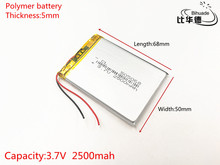 3.7V 2500mAh 505068 Lithium Polymer Li Po li ion Rechargeable Battery cells For Mp3 MP4 MP5 toy mobile bluetooth