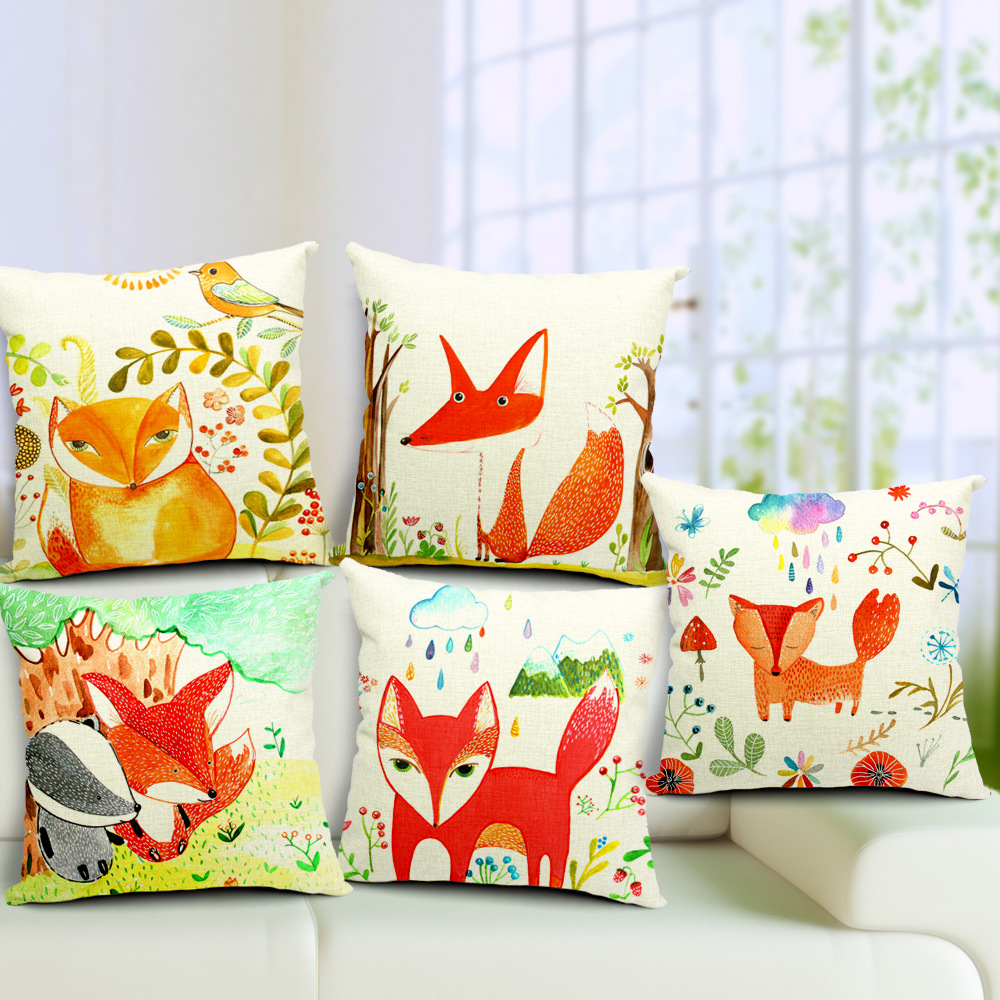 Decoration Pillow Cushion Linen Animal Red Fox Pattern Printing 45cm 45cm Pillow Cushions Free Shipping