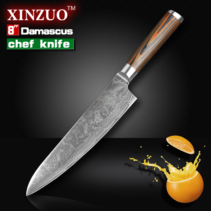8 inches chef font b knife b font High quality 73 layers Japanese VG10 Damascus steel
