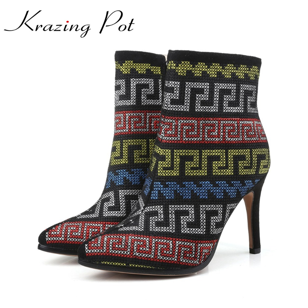 Krazing Pot oriental embroidery thin high heels pointed toe zipper boots women superstar party flowers vintage ankle boots L1f1 a three dimensional embroidery of flowers trees and fruits chinese embroidery handmade art design book