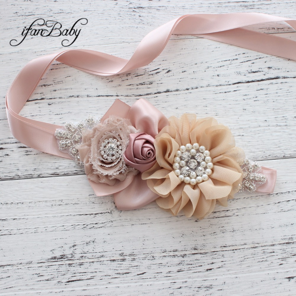 Fashion Girl Woman rhinestone Pattern fabric flower   Belt   female   belt
