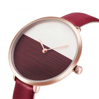 2019 Hot Sale Simple Style Red Leather Quartz Watches Women Fashion Watch Minimalist Ladies Casual Wristwatch Female Cheap Clock