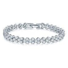 2018 Hot Selling Roman Chain Bracelet for Women Luxury 2.75mm Cubic Zircon Inlay Charm Bracelet Bride Wedding Jewelry
