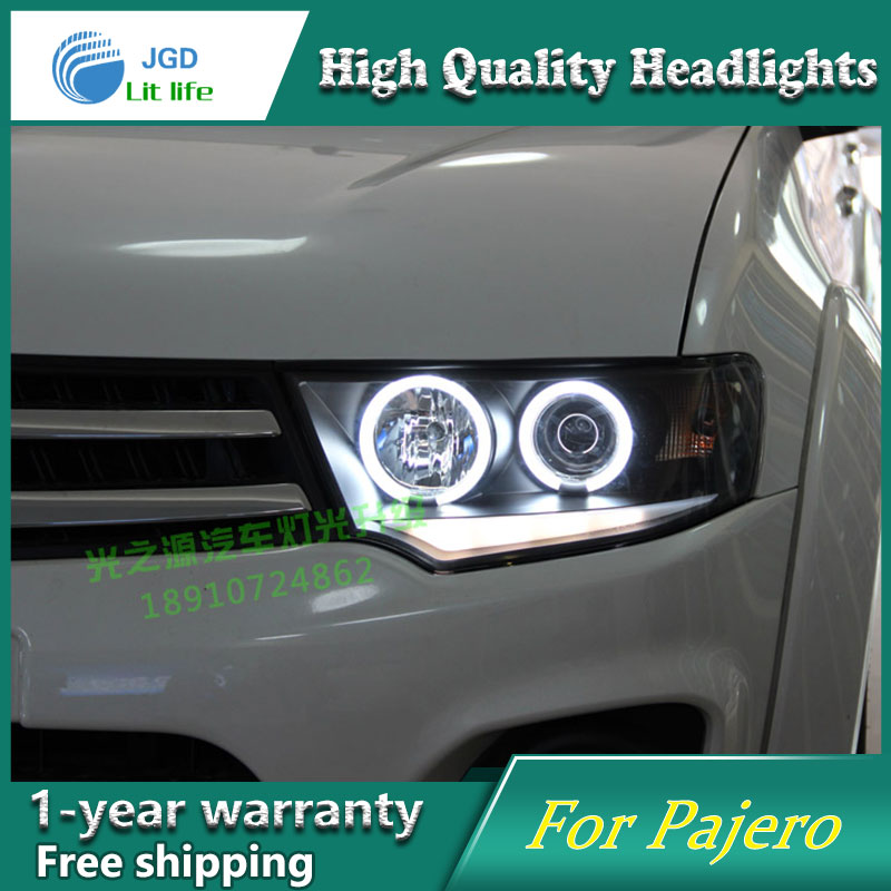Car Styling Head Lamp for Mitsubishi Pajero Headlights 2011-2013 LED Headlight DRL H7 D2H Hid Option Angel Eye Bi Xenon Beam car styling for mitsubishi pajero headlights 2000 2012 pajero v73 led headlight drl turn signal drl h7 hid bi xenon lens