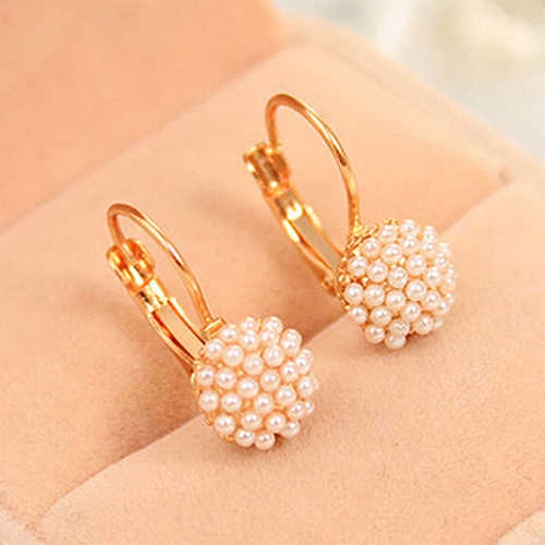 2016 New Women's Faux Pearls Beads Golden Alloy Leverback Eardrop Earrings Party Jewelry