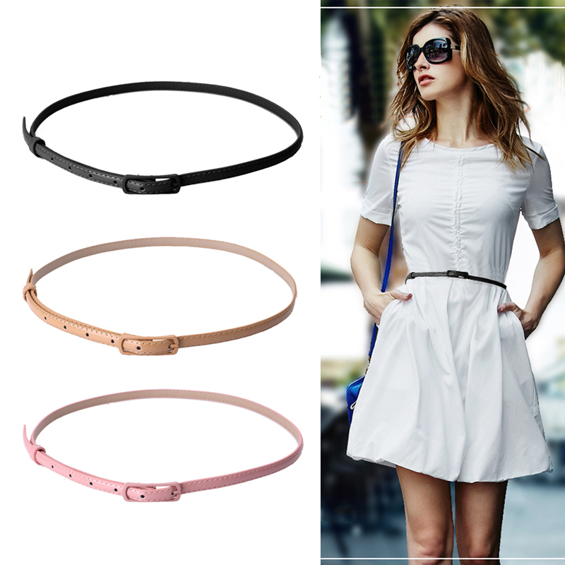 Women Girl Fashion Waist Belt Waistband Colorful Faux Leather Narrow Thin Skinny Black/Khaki/Pink