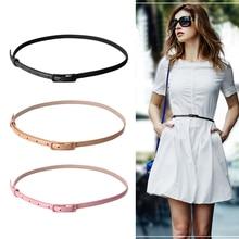 Women Girl Fashion Waist Belt Waistband Colorful Faux Leather Narrow Thin Skinny Black/Khaki/Pink