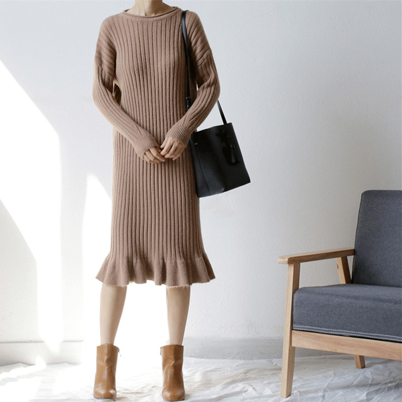 Guesod Autumn WInter Women Rabbit Cashmere Sweater Dress Knitting Basic Dresses Thick Striped Long Design Ruffed Kniiting Dress