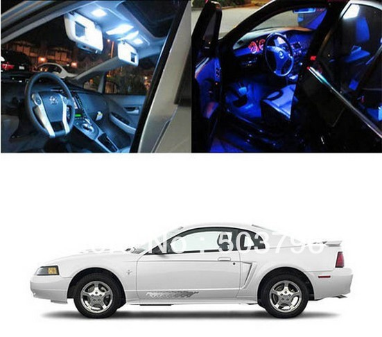 Free shipping 5 x 5050 SMD Light LED Full Interior Lights Package Deal For 1994-2004 Ford Mustang