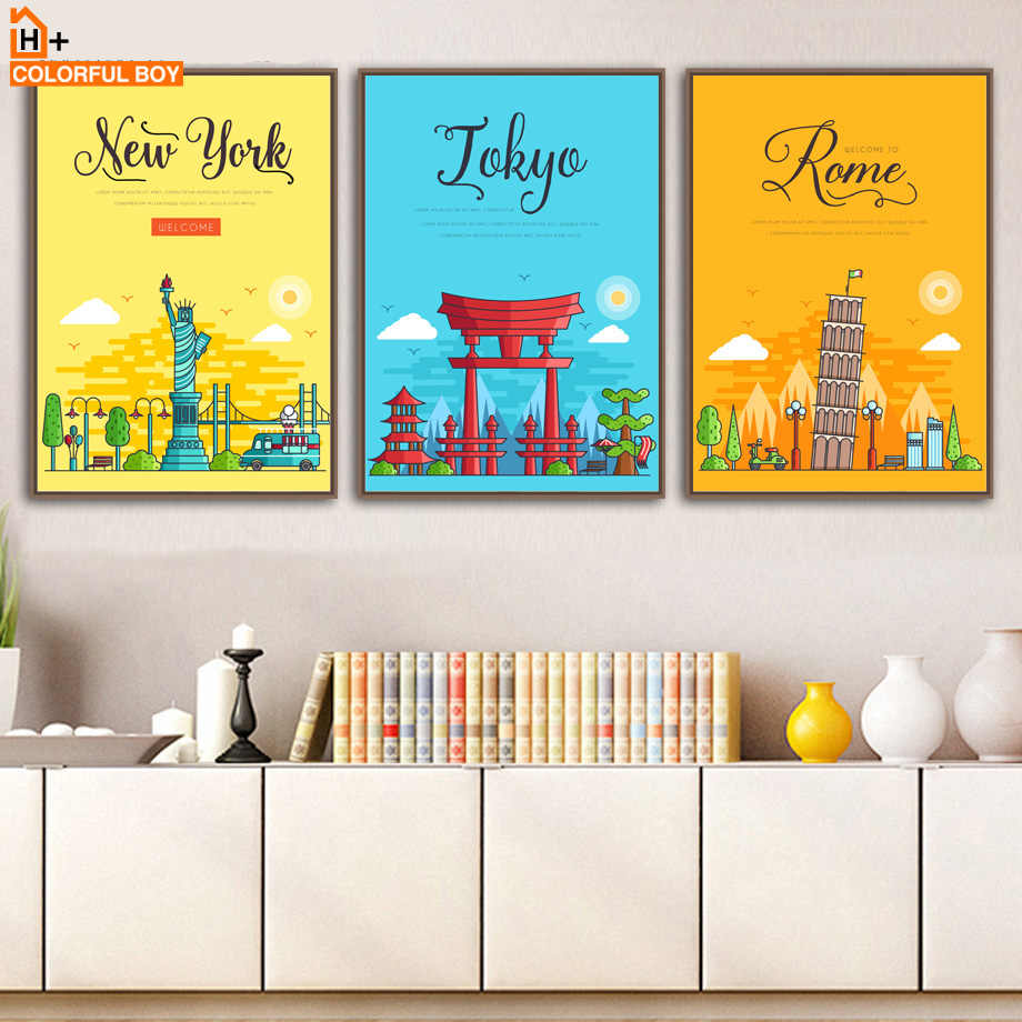 New York Paris London Rome City Landscape Wall Art Canvas Painting Nordic Posters And Prints Wall Pictures Baby Kids Room Decor