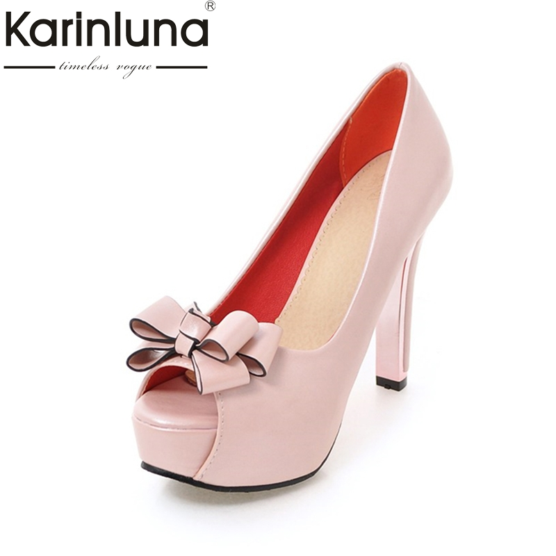 Karinluna New Arrivals Peep Toe Platform Comfort High Heels Summer Shoes Woman Pumps Sweet Bow Peep Toe Party Shoes Women women shoes pumps 2016 spring and summer new patent leather bow peep toe women sandals platform high heels shoes zapatos mujer
