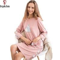 2017 Brand Women Cotton Nightgown Quality Summer Autumn Sleepshirts Pijama Ladies Casual Home Wear Sexy Night Dress SY794