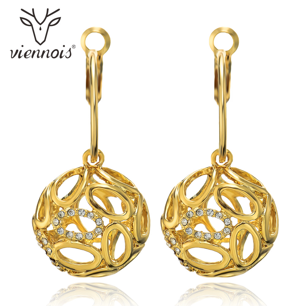 Viennois Gold Color Dangle Earrings for Women Rhinestone Crystal Hollow Out Drop Earrings Female Ball Earring Party Accessories a suit of charming rhinestone hollow out fox necklace and earrings for women