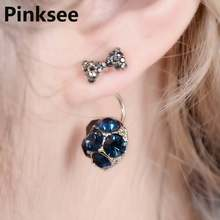 New Fashion Small Bow Crystal Zircon Beads Stud Earrings for Women Tiny Jewelry Best Birthday Gifts AAA Blue And Grey Color(China)