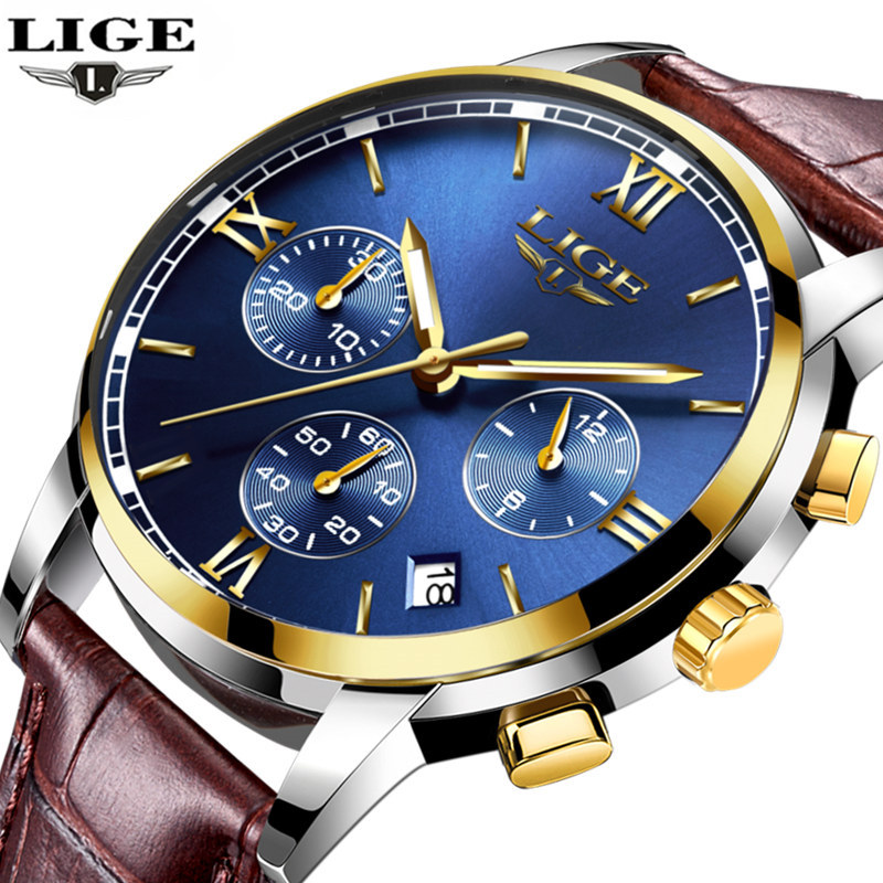 Mens Watches Top Brand Luxury LIGE Men Fashion Military Chronograph Quartz Watch Man Sports Clock Reloj Hombre Relogio Masculino vh mens watches men business watch clock horloges mannen top brand luxury military quartz wrist watch reloj hombre