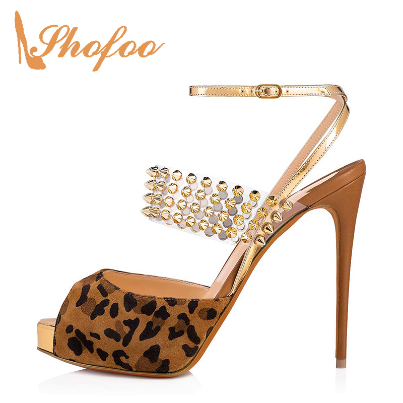 Small Size 33 36 Woman Shoes Brown Leopard Rivets Stilettos Ankle Wrap Platform Sandals High Thin Heels Ladies Sexy Evening 2019