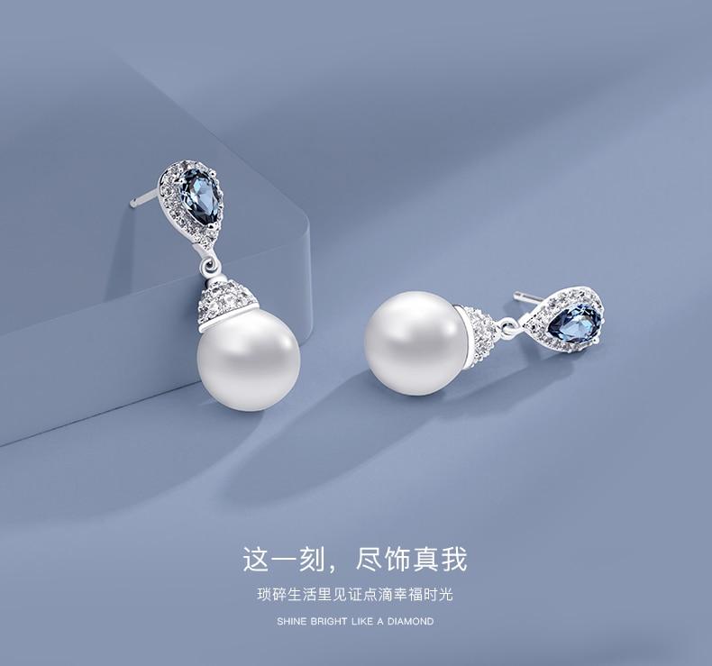 HTB1C5nMKaSWBuNjSsrbq6y0mVXaN Warme Farben 925 Sliver Women Earrings Made With Swarovski Crystal Elegant Pearl Drop Earrings Fashion Jewelry Wedding Earrings