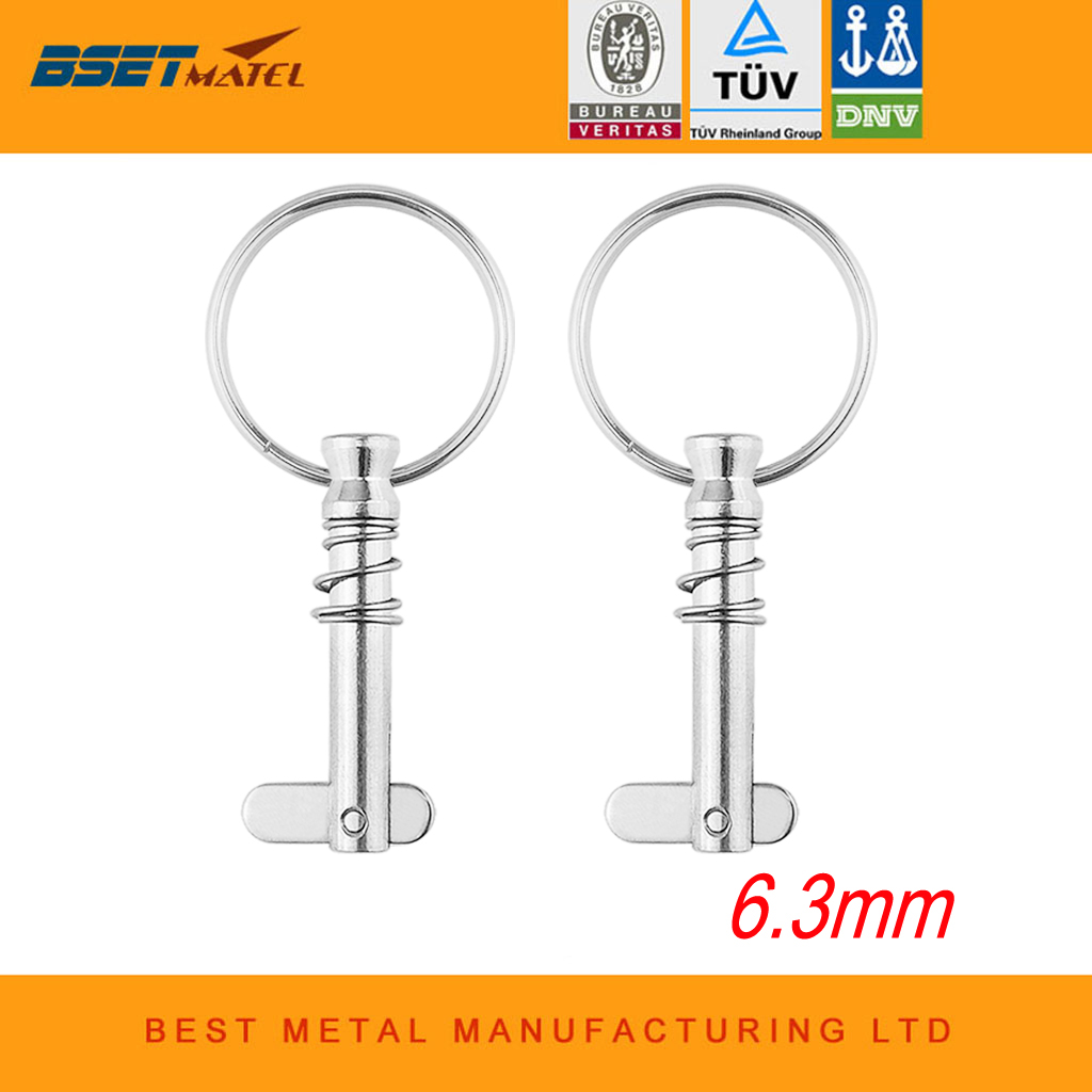 2 pcs  6.3mm Stainless Steel 316 Quick Release Pin with ring for Boat Bimini Top Deck Hinge Marine hardware2 pcs  6.3mm Stainless Steel 316 Quick Release Pin with ring for Boat Bimini Top Deck Hinge Marine hardware