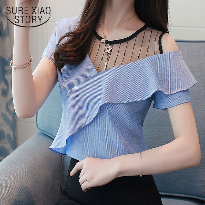 2019 fashion short sleeve women's clothing female   shirt   summer patchwork women   blouse     shirt   sweet blue women's tops D745 30