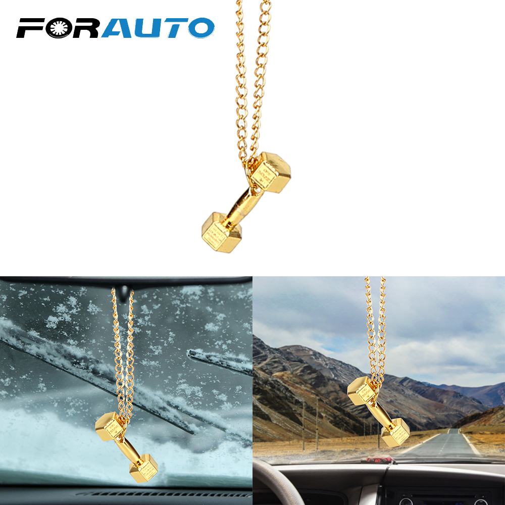 Alloy Dumbbell Car Pendant Car Rear View Mirror Ornament Hanging Ornaments Gift Car-styling Auto Decoration Car Accessories
