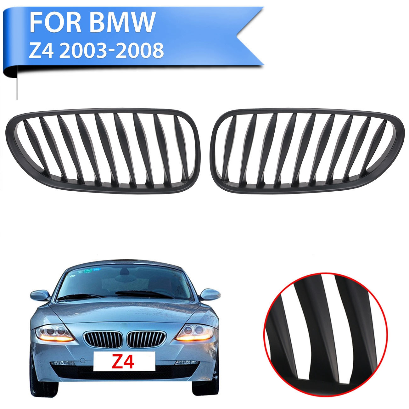 Bmw Z4 E86 Review: 2PC Matte Black Front Kidney Grille Grill Lattice For BMW