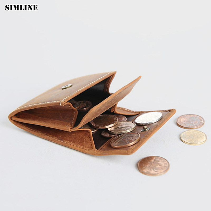 SIMLINE Genuine Leather Coin Purse Vintage Men Woman Small Mini Hasp Wallet Wallets Pocket Case Storage Bag Holder Male Female simline vintage genuine leather cowhide men male short slim mini thin zipper wallet wallets purse card holder coin pocket case
