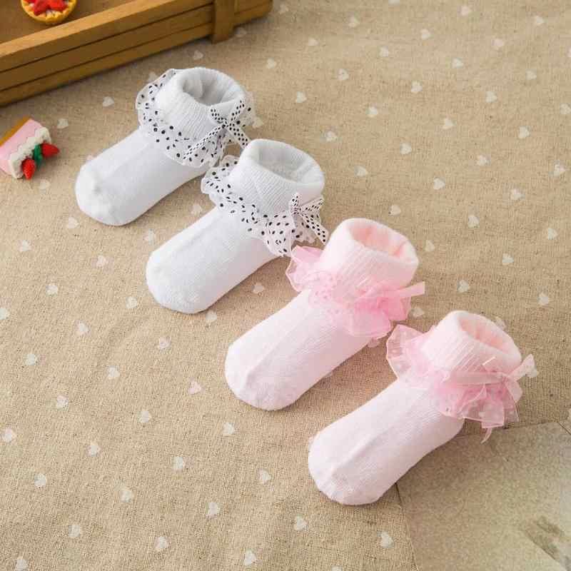 Calcetines de bebé recién nacido Bowknot 0-6 M niños puntos calcetines de encaje niñas pies suaves usan calcetines de Color sólido para niños calentador de pies absorbente de sudor