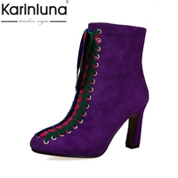 KarinLuna Merk Ontwerp Kleurrijke Schoenveter Hoge Hakken Vrouwen Schoenen Vrouw Sexy Zip Up Zwart Paars Kid Suede Enkellaarsjes