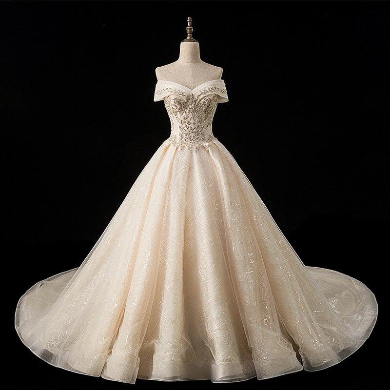 Robe de mariée Champagne 2019 longue épaule taille basse dentelle perlée robe de mariée royale robe de mariée Vestido de Novia