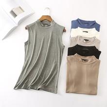 New Casual T-shirt Women Summer Tops  Sleeveless t shirt tshirt Sexy Turtleneck Womens Clothing Poleras De Mujer D170
