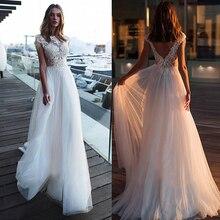 Chic Tulle Bateau Neckline A line Wedding Dresses With Chains Lace Appliques Beach Wedding Gowns Bridal Dresses