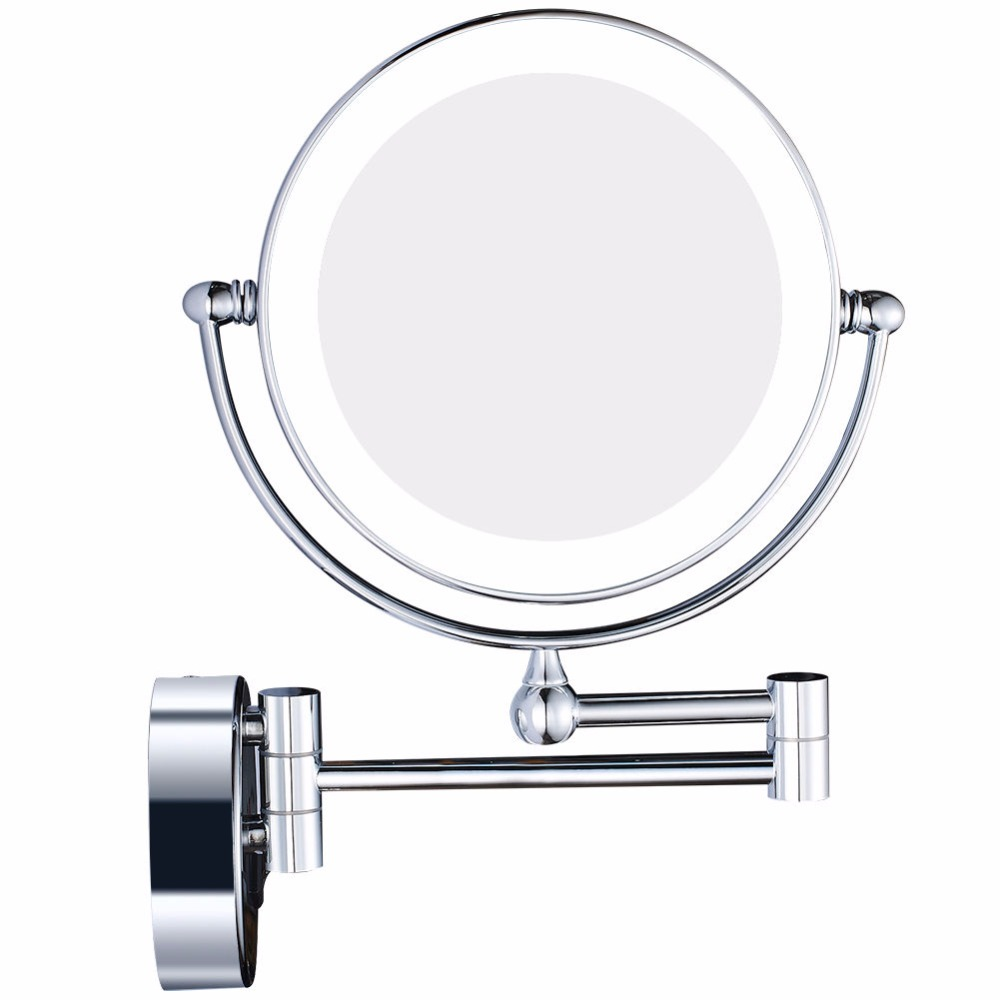 GURUN HA CONDOTTO Le Luci Vanità Cosmetico D'ingrandimento di Trucco Specchi Parete del Bagno di Ingrandimento Specchio Da Barba con Incasso Spina, Chrome