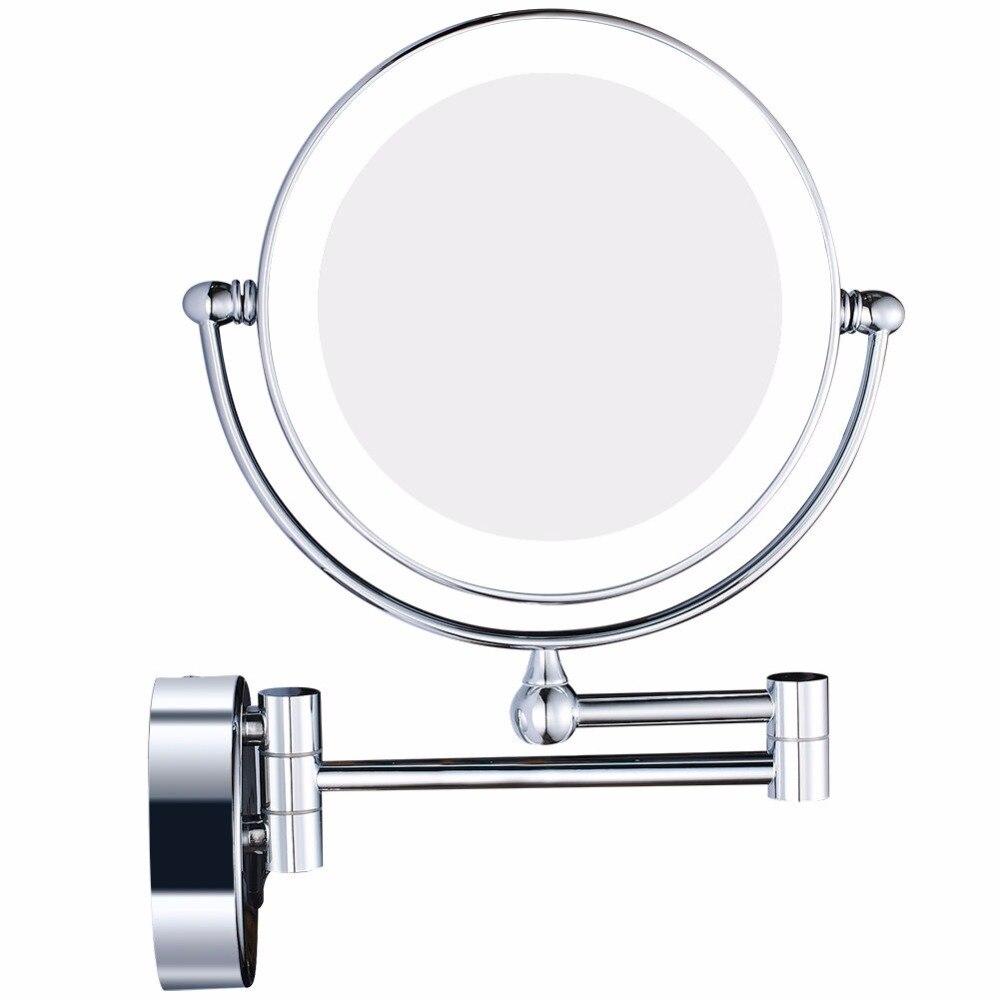 GURUN LED Lumières Vanité Cosmétique Grossissant Maquillage Miroirs Mur Bain Grossissement Rasage Miroir avec Caché Fiche, Chrome