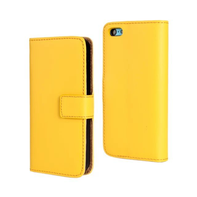 11 Color Genuine Leather Wallet Case For IPhone 5C With TV
