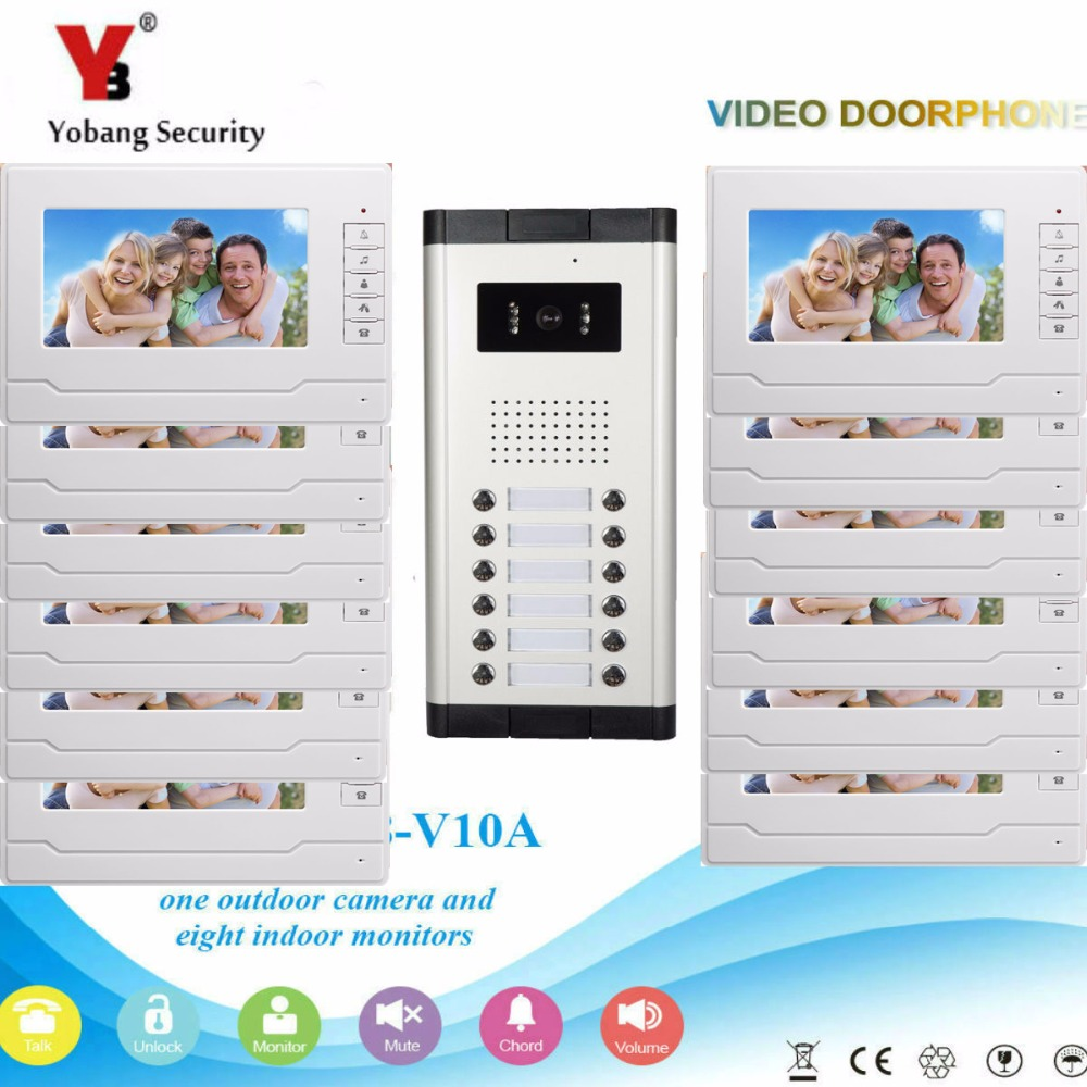 YobangSecurity Video Intercom 7Inch Wired Video Door Phone Doorbell Intercom Monitor Camera Bell System For 12 Units Apartment apartment intercom system 7 inch monitor 12 units apartment video door phone intercom system video doorbell doorphones kit