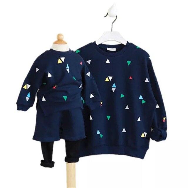 Семья Соответствующие Наряды 2017 Весна случайные мать и дочь одежда (Футболка + брюки) дети clothing set
