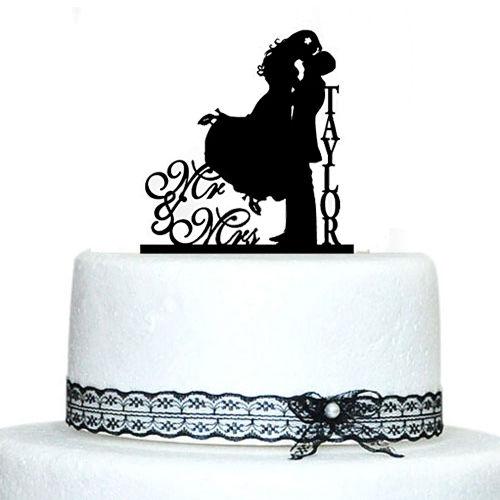 Custom Last Name Mr & Mrs Kiss Cake Design Rustico Cake Toppers per - Per vacanze e feste