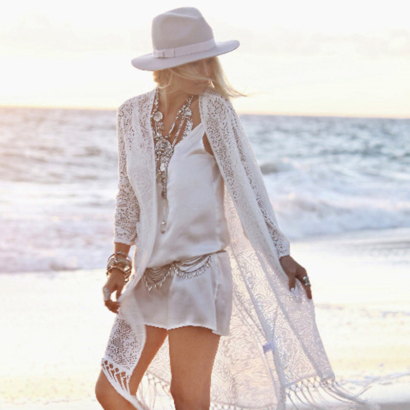 Summer Bohemia Long Cardigan Women White Hollow Out Flowers Lace ...
