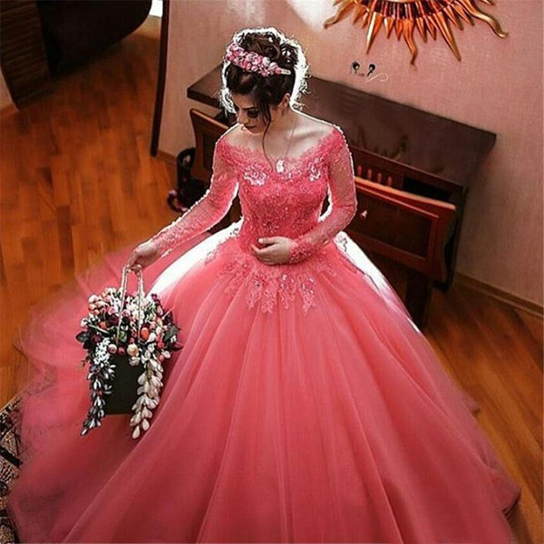 Ball Gown Quinceanera Dress Debutante Gowns Sheer Long Sleeve Watermelon Prom Sweet 16 Gowns Tulle Robe De Bal Birthday Party