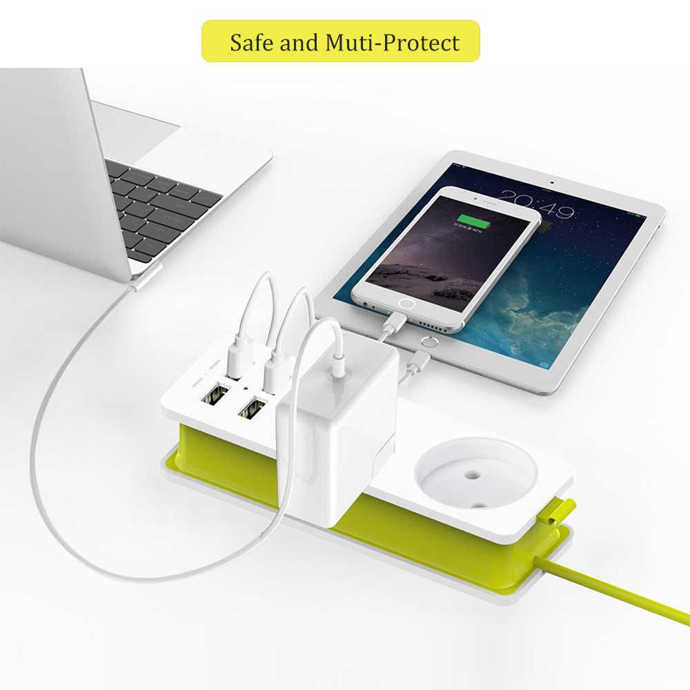 Rdxone EU 플러그 여행 전원 스트립 휴대용 확장 소켓 콘센트 4 USB 벽 충전기 스마트 데스크탑 소켓