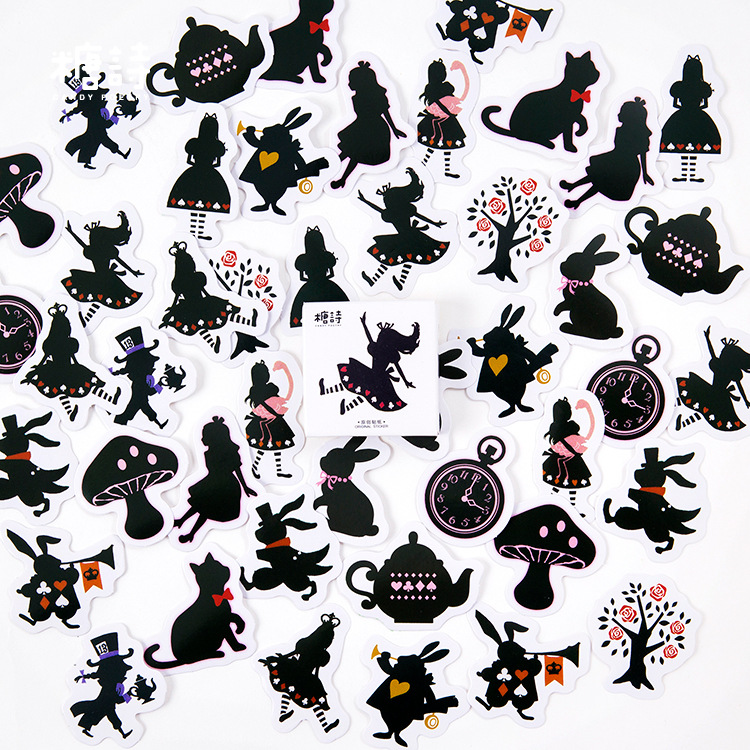 45 pcs/pack Alice Black cat Decorative Stickers Adhesive Stickers DIY Decoration Diary Stickers jtron flame pattern motorcycles diy decorative stickers silver 4 pcs