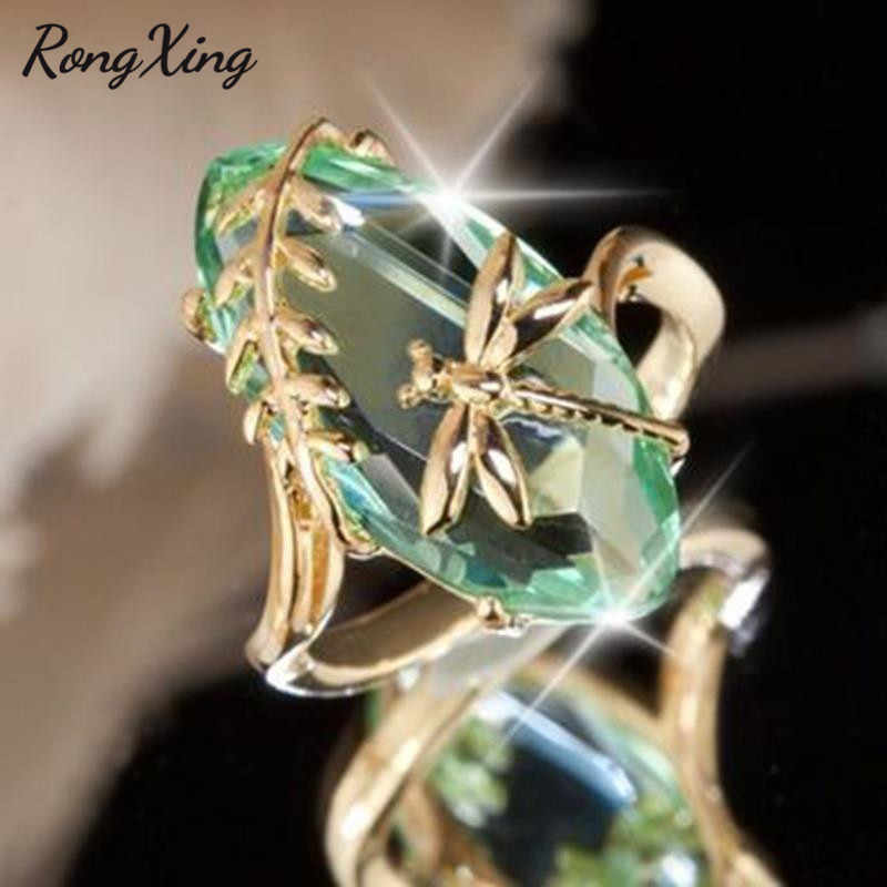 RongXing Big Olive Green Crystal Rhinestone Gold Color Dragonfly Rings for Women Personality Animal Jewelry Birthstone Ring Gift