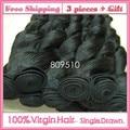 3PCS+GIFT, Brasileira Virgem Cabelo Humano Hair Weft 14 - 30inch, Wave, Natural Color, Same Length 100g/pc Free Shipping Ring