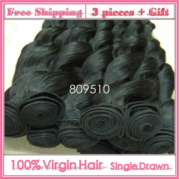 3PCS+GIFT, Brasileira Virgem Cabelo Humano Hair Weft 14 - 30inch, Wave, Natural Color, Same Length 100g/pc Free Shipping Ring