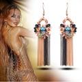 Ajojewel European Fashion Metal Chain Jewelry Luxury Bohemia Multicolor Temperament Tassel Earrings With Crystal For Women