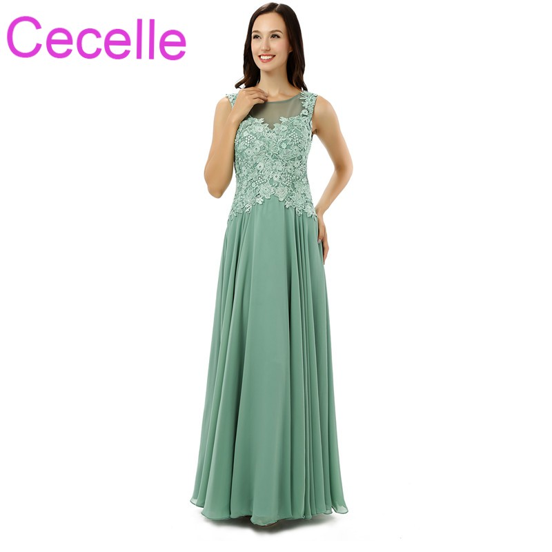 Sage Chiffon Lace Long Mother of the Bride Dresses Sleeveless Lace Top Chiffon Skirt Simple Mothers Formal Evening Wear Elegant